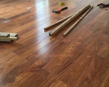 Công trình sàn nhà ốp tường gỗ Căm Xe quận Cầu Giấy